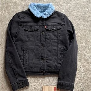 Levi's girls black jean jacket, blue warm lining